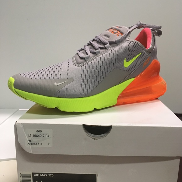 huge selection of 1aab7 23fde Nike Air Max 270 11.5 Atmosphere Grey Volt Orange NWT